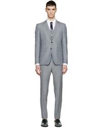 Серый шерстяной костюм-тройка от Burberry