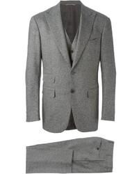 Серый шерстяной костюм-тройка от Canali
