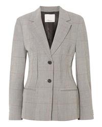 Женский серый шерстяной пиджак в клетку от 3.1 Phillip Lim