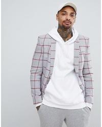Мужской серый шерстяной пиджак в клетку от ASOS DESIGN