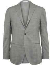Мужской серый шерстяной пиджак в клетку от Boglioli