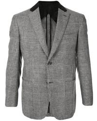 Мужской серый шерстяной пиджак в клетку от Brioni