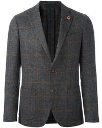 Мужской серый шерстяной пиджак в клетку от Lardini