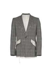Мужской серый шерстяной пиджак в клетку от Sulvam