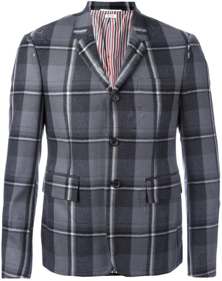 Мужской серый шерстяной пиджак в клетку от Thom Browne