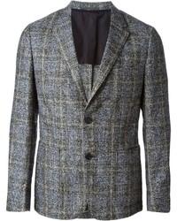 Мужской серый шерстяной пиджак в клетку от Z Zegna