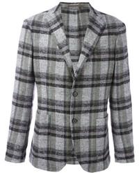 Серый шерстяной пиджак в шотландскую клетку