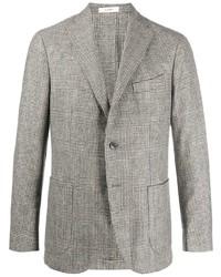 Мужской серый шерстяной пиджак в шотландскую клетку от Boglioli