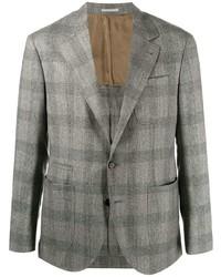 Мужской серый шерстяной пиджак в шотландскую клетку от Brunello Cucinelli