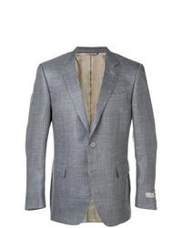 Мужской серый шерстяной пиджак в шотландскую клетку от Canali