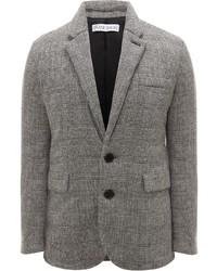 Мужской серый шерстяной пиджак в шотландскую клетку от JW Anderson