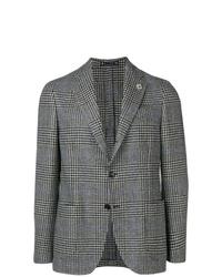 Мужской серый шерстяной пиджак в шотландскую клетку от Lardini