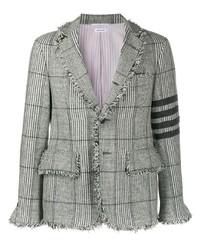 Мужской серый шерстяной пиджак в шотландскую клетку от Thom Browne
