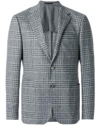 Мужской серый шерстяной пиджак в шотландскую клетку от Z Zegna