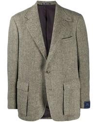 """Мужской серый шерстяной пиджак с узором """"в ёлочку"""" от Polo Ralph Lauren"""