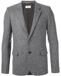 """Мужской серый шерстяной пиджак с узором """"в ёлочку"""" от Saint Laurent"""