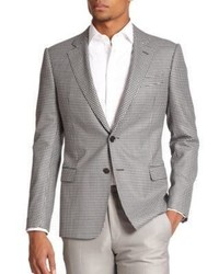 """Серый шерстяной пиджак с узором """"гусиные лапки"""""""