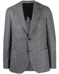 """Мужской серый шерстяной пиджак с узором """"гусиные лапки"""" от Lardini"""