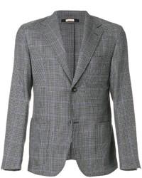 """Мужской серый шерстяной пиджак с узором """"гусиные лапки"""" от Massimo Alba"""