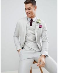 Мужской серый шерстяной пиджак от ASOS DESIGN
