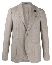 Мужской серый шерстяной пиджак от Lardini