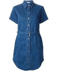 Синее джинсовое платье-рубашка