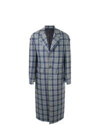 Синее длинное пальто в шотландскую клетку