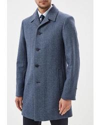 """Синее длинное пальто с узором """"в ёлочку"""" от Avalon"""