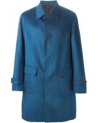 Мужское синее длинное пальто от Brioni
