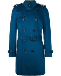 Мужское синее длинное пальто от Burberry