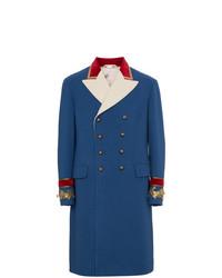 Синее длинное пальто от Gucci
