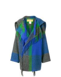 Синее пальто в шотландскую клетку