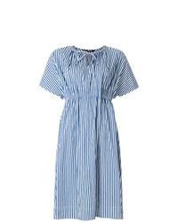 Синее платье-миди в вертикальную полоску