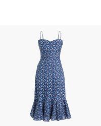 Синее платье-миди с цветочным принтом