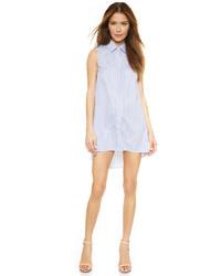 Синее платье-рубашка в вертикальную полоску