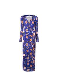 Синее платье с запахом с цветочным принтом