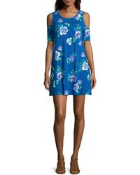Синее свободное платье с цветочным принтом
