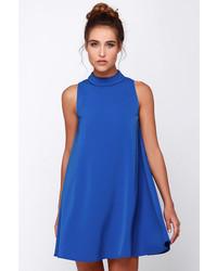 Синее свободное платье