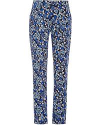 Синие брюки-галифе с цветочным принтом