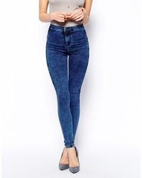 Синие вареные джинсы скинни