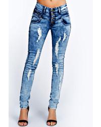 Синие вареные джинсы