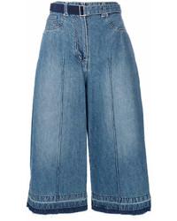 Синие джинсовые брюки-кюлоты