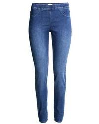 Синие джинсовые леггинсы