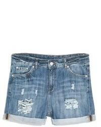 Синие джинсовые рваные шорты