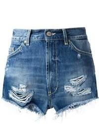 Синие джинсовые рваные шорты от Dondup