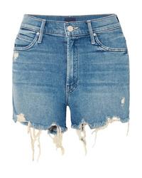 Синие джинсовые рваные шорты от Mother