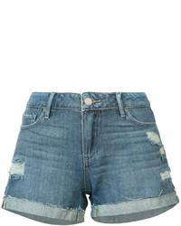 Синие джинсовые рваные шорты от Paige