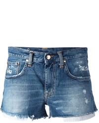 Женские синие джинсовые рваные шорты от (+) People
