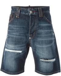 Мужские синие джинсовые рваные шорты от Philipp Plein