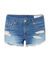 Синие джинсовые рваные шорты от Rag & Bone